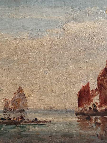 Tableau de Félix Ziem, Venise, bateaux, 1850, huile sur bois, 14x30 cm, copyright musée Ziem, Martigues